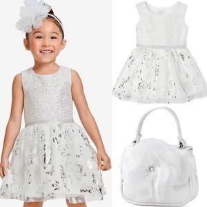 NWT • Children's Place Jacquard Tutu Dress + Purse